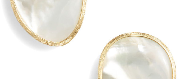 Lunaria White Mother of Pearl Stud Earrings