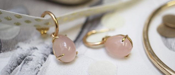 Rose Quartz 18ct Red Gold Earring