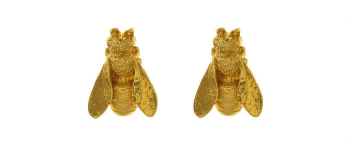 Large Honey Bee Studs Gold