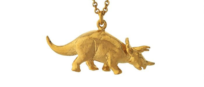 Triceratops Necklace Gold