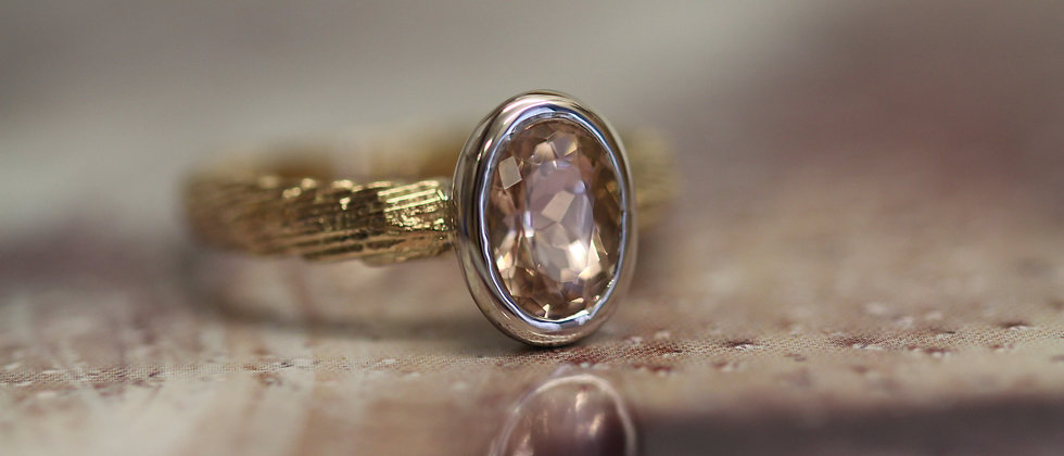 9ct Yellow & White Gold Morganite Ring