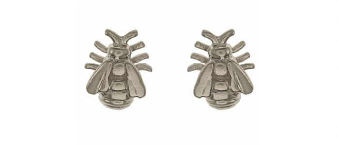 Small Honey Bee Studs Silver