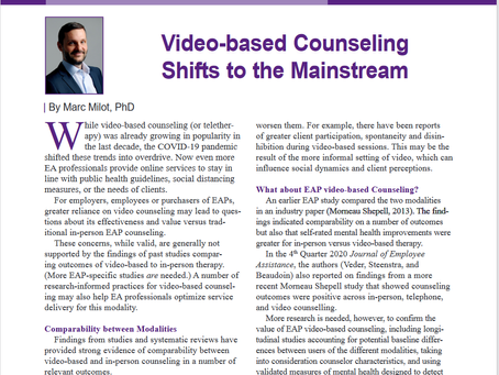 Article on video counselling by Marc published in Journal of Employee Assistance