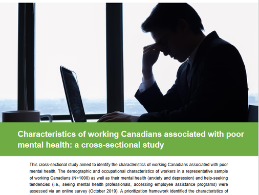 Workreach Lab research report on mental health of working Canadians