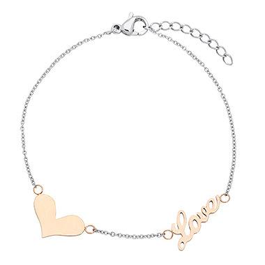 Two Tone Heart Bracelet 5006S
