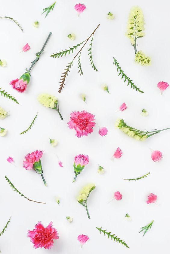Amarillas y flores rosadas