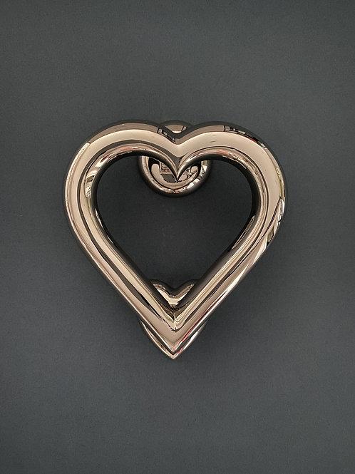 Brass Heart Door Knocker - Nickel Finish