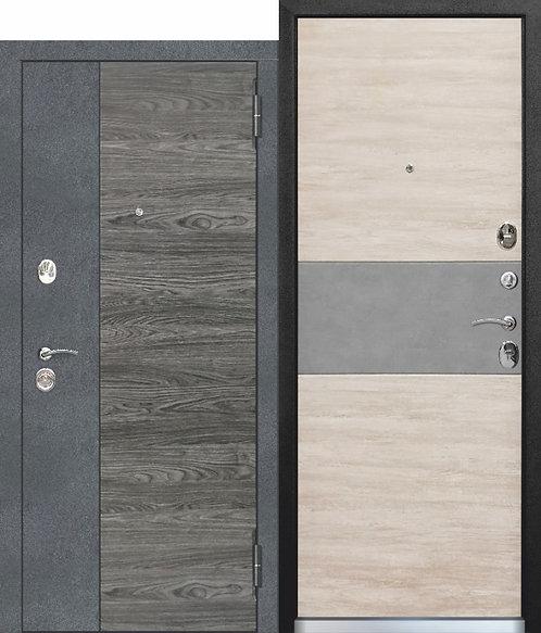Стальная дверь 9,5 см ОРЛАНДО Бетон графит, Вяз каньон вековой / Дуб винтаж белы