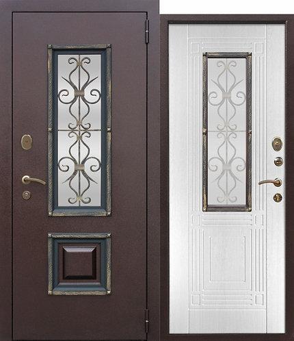 Стальная дверь со стеклопакетом Венеция Белый ясень