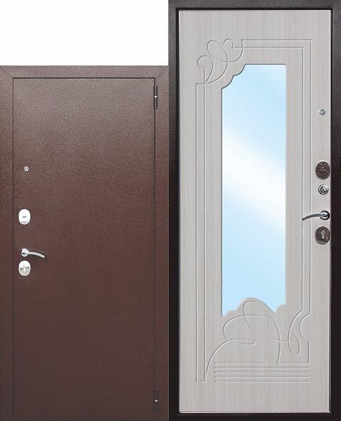 Железная дверь с зеркалом Ампир Белый ясень