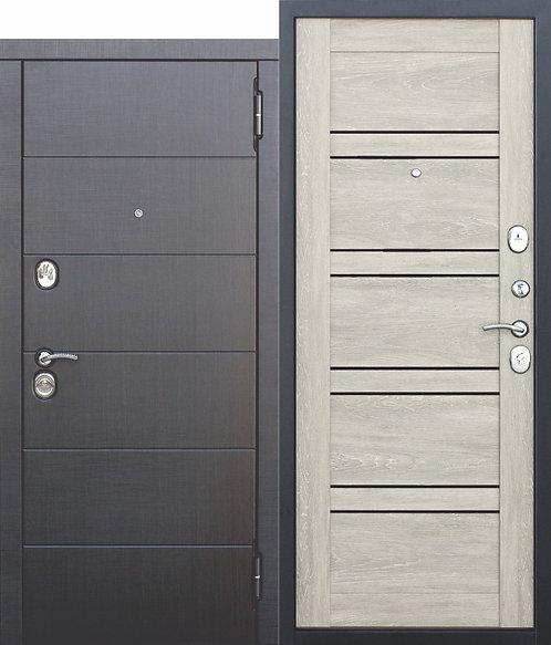 Металлическая дверь 10,5 см Чикаго Царга дуб шале белый с МДФ панелями