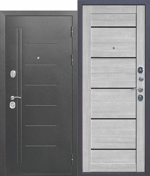 Железная дверь 10 см Троя Серебро Дымчатый дуб