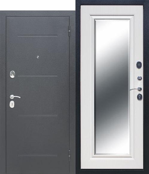 Железная дверь 7,5 см GARDA Серебро Зеркало Фацет Белый ясень