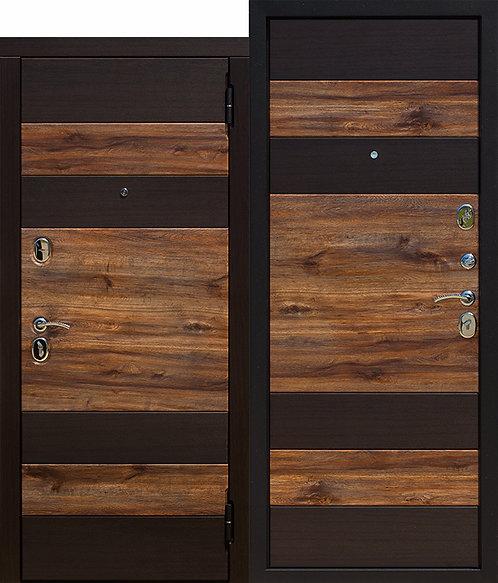 Стальная дверь 9,5 см ОКСФОРД Венге темный / Дуб бомонд лофт