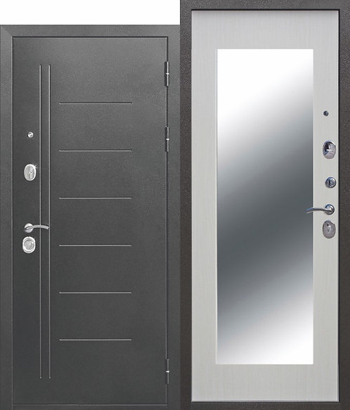 Железная дверь 10 см Троя Серебро МАКСИ зеркало Белый ясень