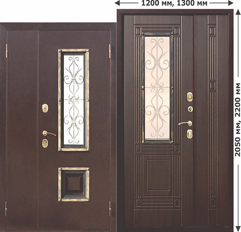 Стальная нестандартная дверь со стеклопакетом Венеция 1200 Венге