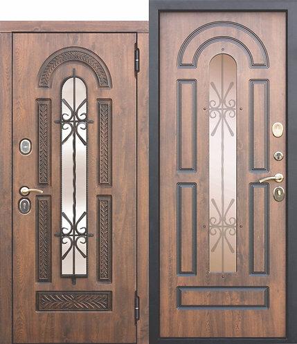 Входная дверь со стеклопакетом и ковкой Vikont