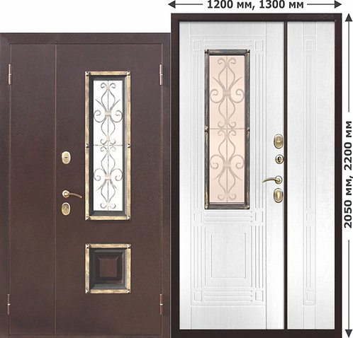 Стальная нестандартная дверь со стеклопакетом Венеция 1200 Белый яс