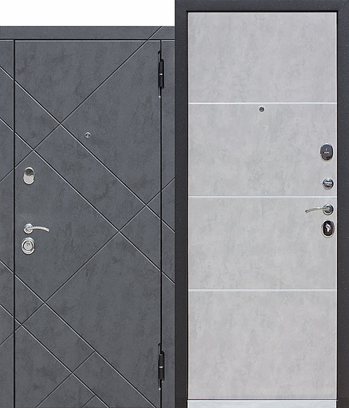 Металлическая дверь 9 см БРУКЛИН Бетон графит / Бетон пепельный