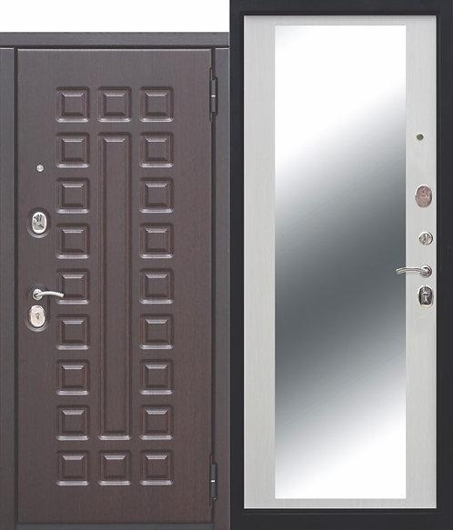Металлическая дверь 10 см МОНАРХ Зеркало Белый ясень