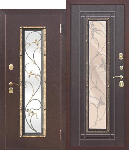 Входная дверь со стеклопакетом Плющ Венге