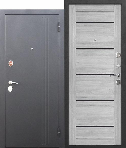 Надежная дверь 7,5 см НЬЮ-ЙОРК Царга Ривьера пепельная