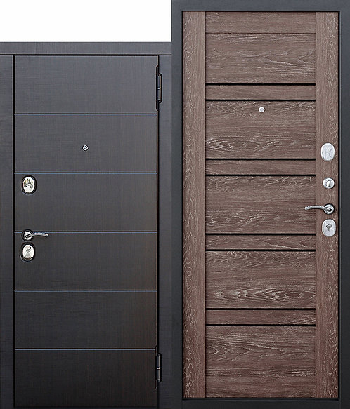 Металлическая дверь 10,5 см Чикаго Царга дуб шале корица с МДФ панелями