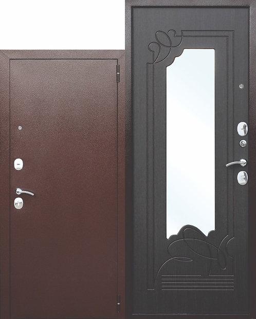 Железная дверь с зеркалом Ампир Венге