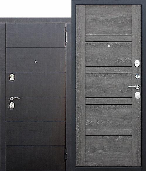 Металлическая дверь 10,5 см Чикаго Царга дуб шале графит с МДФ панелями