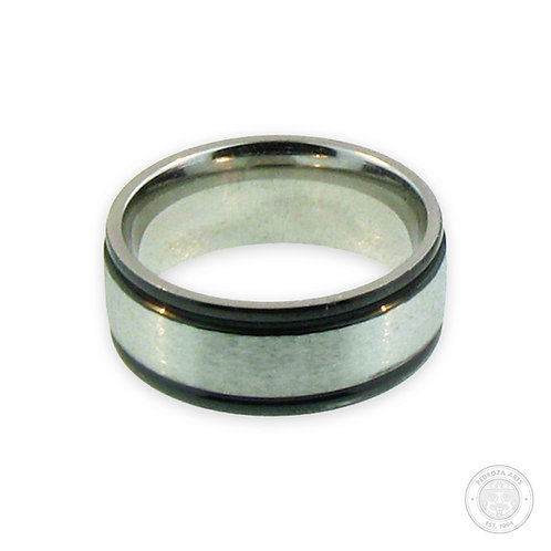 Silver with Black Stainless Steel Ring (8mm)