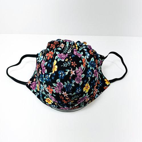 Black Floral Pattern Protective Mask