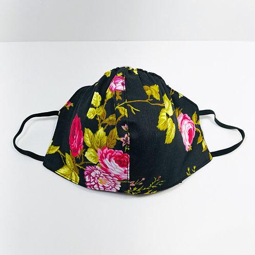 Black background Pink Roses Pattern Protective Mask