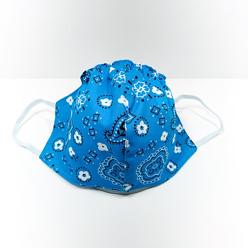 Aqua Blue Bandana Pattern Protective Mask