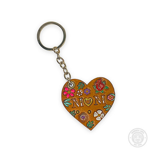 Leather Heart Mom Keychain