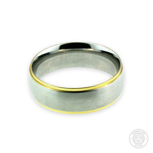 Silver with Gold Stainless Steel Ring (8mm)
