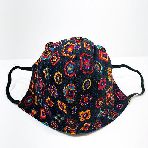 Black Colorful Print Protective Mask