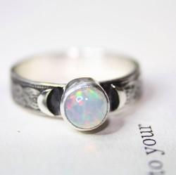 Opal Crescent Moon Ring