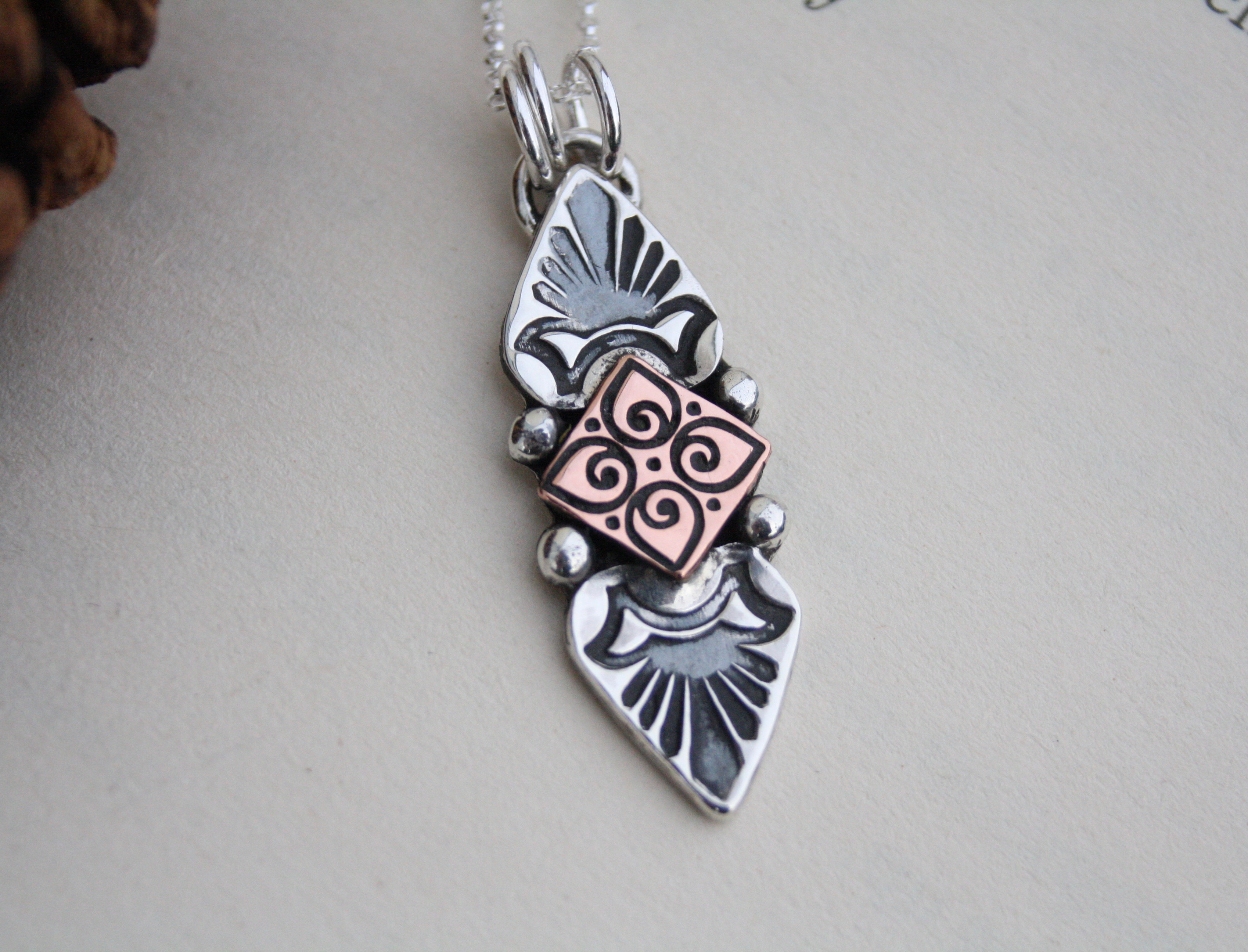 Inner Truth - Sterling Silver and Copper Necklace