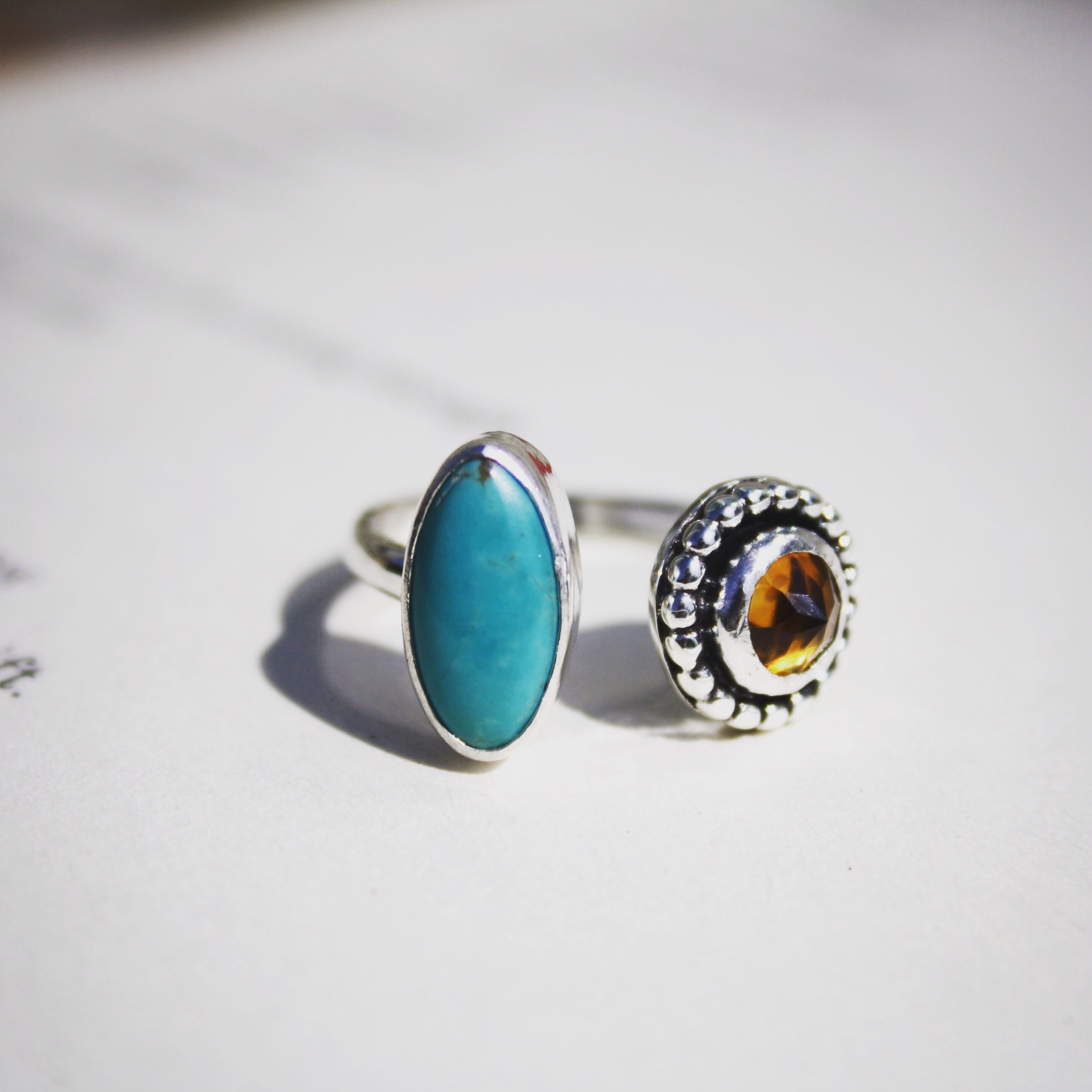 Turquoise and Citrine Ring