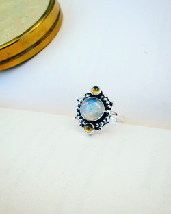 Moonstone and Citrine Ring