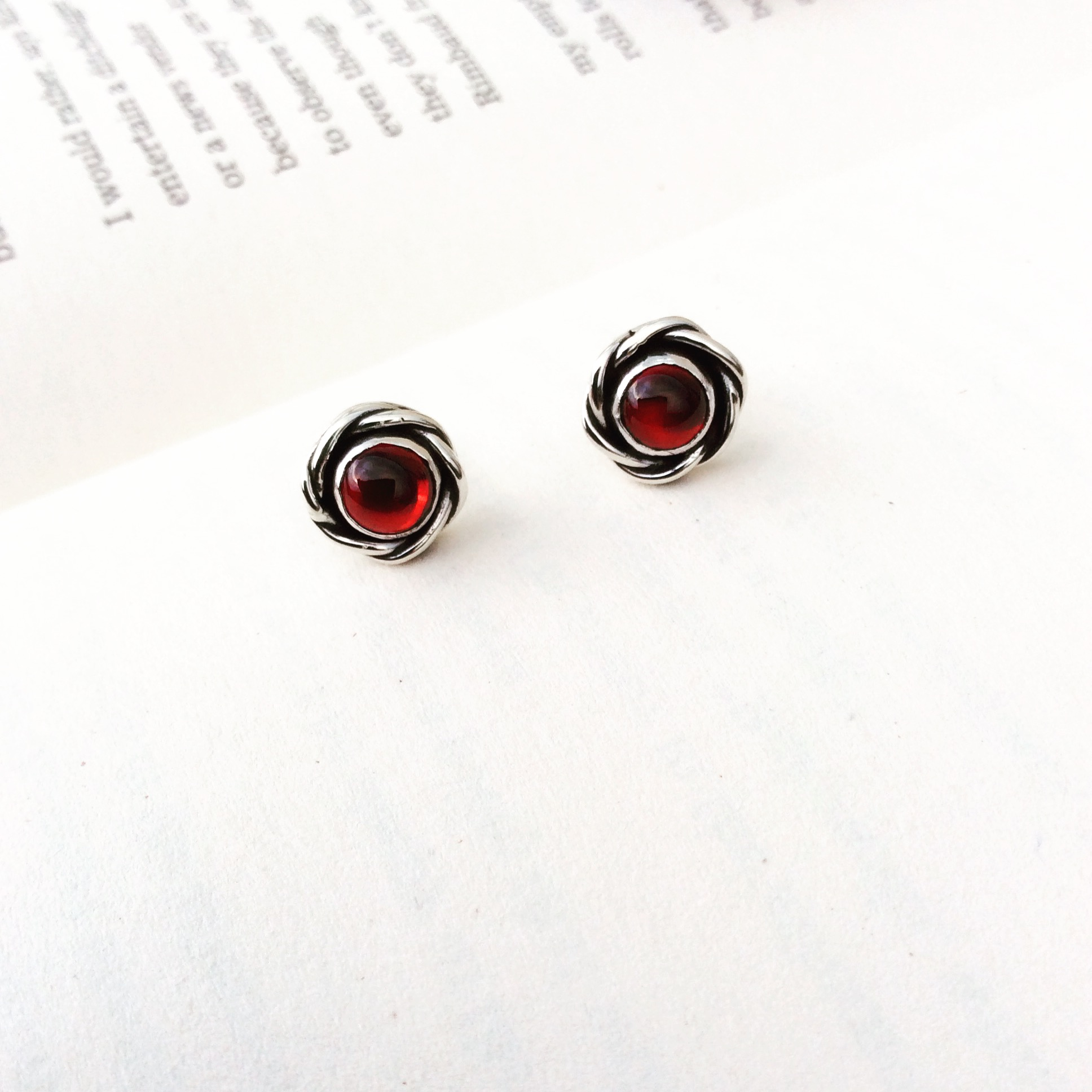 Garnet Rose Earrings