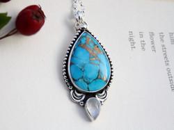 Kintsugi - Mojave Turquoise and Moonstone Necklace