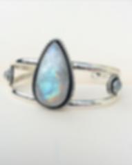 Moonstone sterling silver bangle