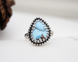 Like a Wave from the Ocean - Golden Hill Turquoise Ring