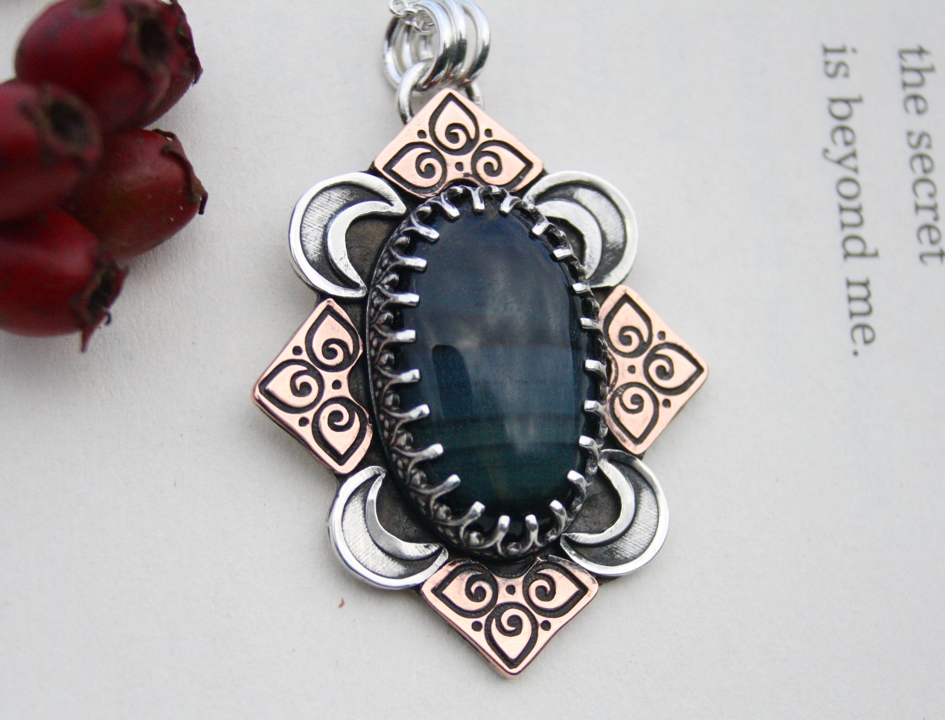 Like A Wave From The Ocean - Pietersite Sterling Silver and Copper  Necklace