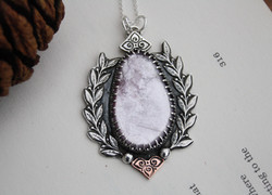 The Heart - Lepidolite Silver and Copper Necklace