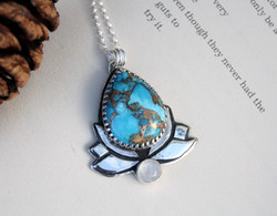Mojave Turquoise Lotus Necklace