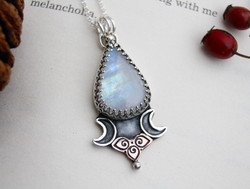The Moon - Moonstone Silver and Copper Necklace