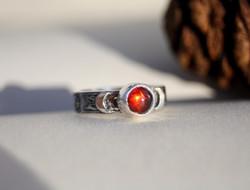 Garnet Crescent Moon Ring