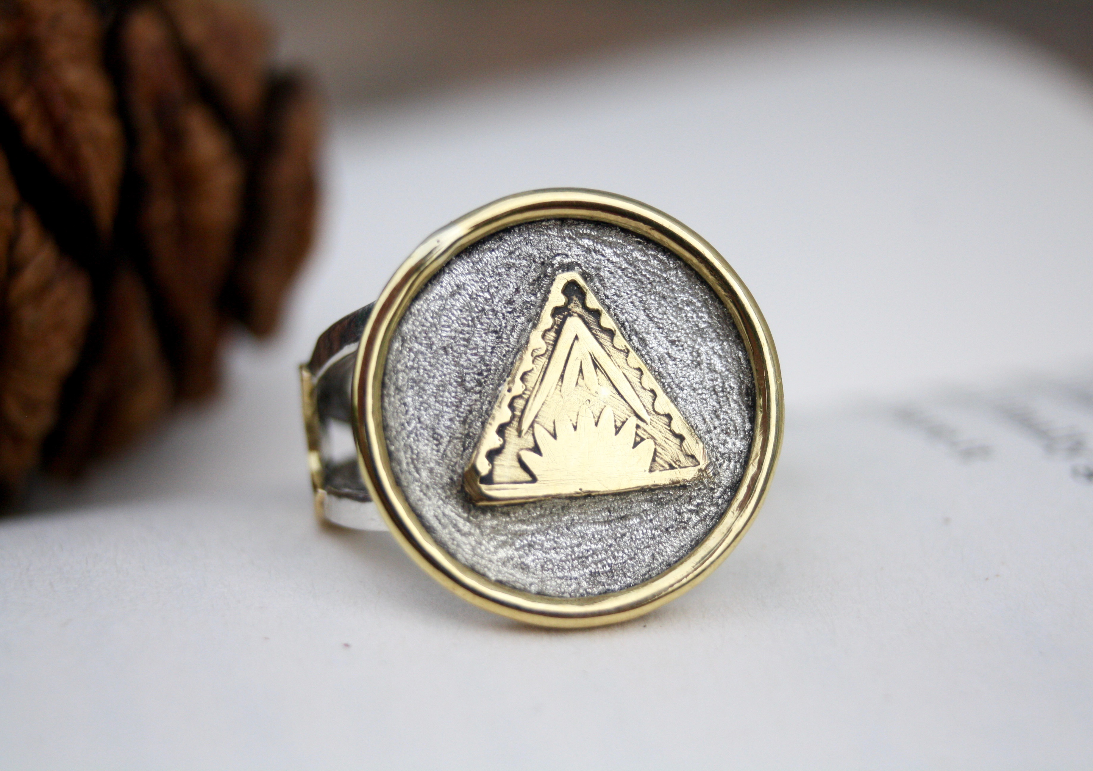 Solitude - Silver and Brass Ring
